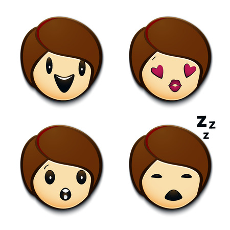 Emojis laughing,with loving look,amazed or surprised and sleeping. Ilustração