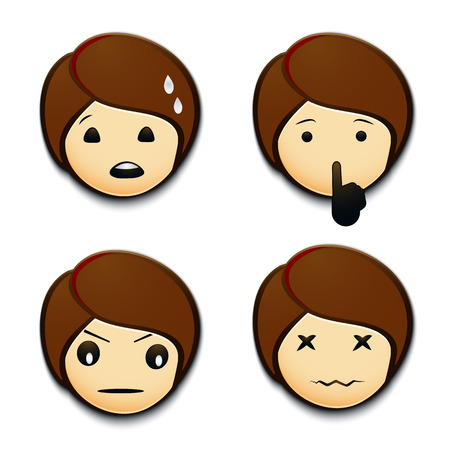 Emojis worried, angry, hushing, hurt.