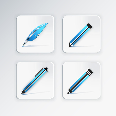 Education icon set with quill,ball pen,pencil,crayon for writing.