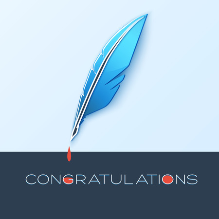 Congratulations note with quill and ink dripping.