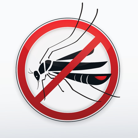 gnat: Mosquito stylized silhouette as red danger stop sign.
