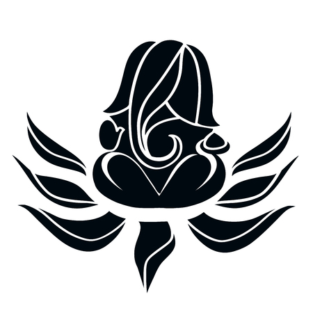 Ganesha stylized silhouette  sitting on lotus. 版權商用圖片 - 58418430