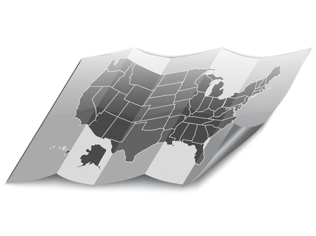 USA folded map. Realistic vector.