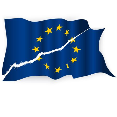 EU torn flag Illustration