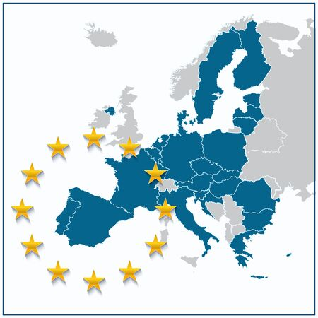 excluding: European Union map with new 27 number of states excluding United Kingdom. Vector illustration.