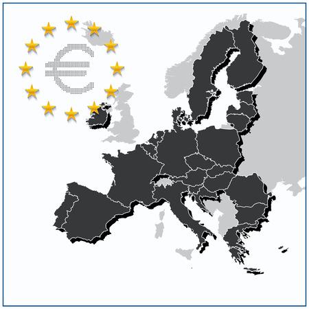 色グレーは、イギリスを除く状態数の新しい 27 の欧州連合地図。ベクトルの図。