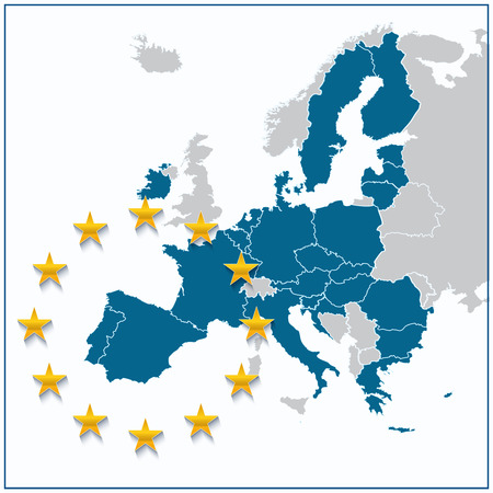 European Union map with new 27 number of states with United Kingdom greyed out. Vector illustration.