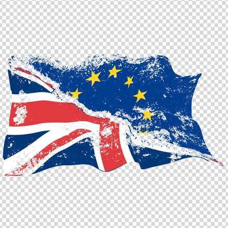 Two torn waving EU and UK flags. Brexit concept. Vector.