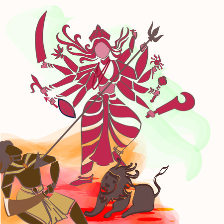 hindu goddess: Durga Hindu goddess with Asura in celebration of Durga puja, Dessehra,Nevaratri.