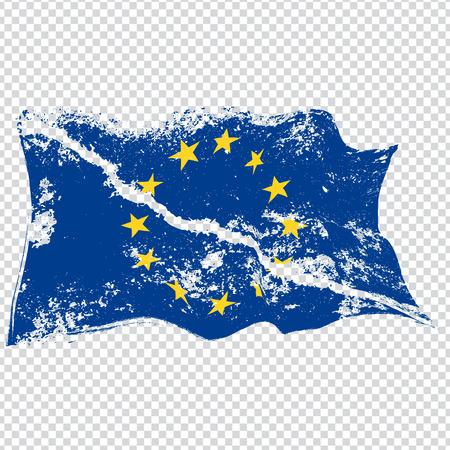 EU torn flag.Brexit concept. Vector.