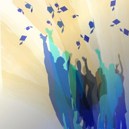 Graduates celebrating in silhouettes. Ilustracja