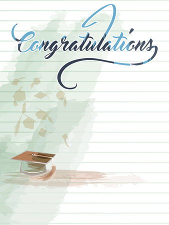 Congratulations note with graduation hat.