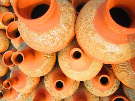 scarcity: CLAY POTS DEPICTING HUMAN THIRST, WATER SCARCITY AND NEED