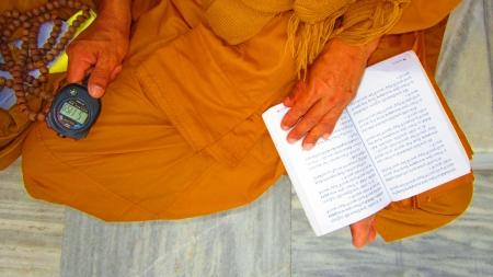 bodhgaya: Monk praying at the courtyard of Mahabodhi temple , Bodhgaya. Keeping watch. Shot at 1703 pm on 10.08.12 at Bodhgaya, Bihar, India, Asia. Editorial