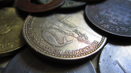 coins of different countries put together  photo