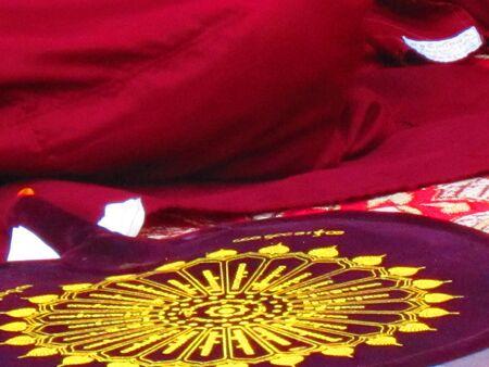 bodhgaya: OBJECTS OF WORSHIP OR HAND FAN USED BY MONKS AT MAHABODHI TEMPLE.SHOT AT BODHGAYA , BIHAR, INDIA, ASIA AT 0518PM ON 10,08,12