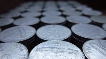 STACK OF COINS SEEN FROM TOP photo