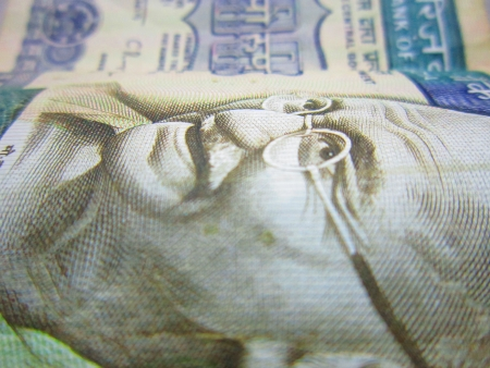 OLD 500 INDIAN MONEY FOCUSING ON GANDHI PRINT photo