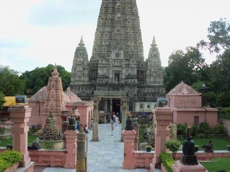 bodhgaya: front lawn of mahabohi temple, bodhgaya. shot at bodhgaya, bihar, india, asia at sunset hours August 2012 Editorial