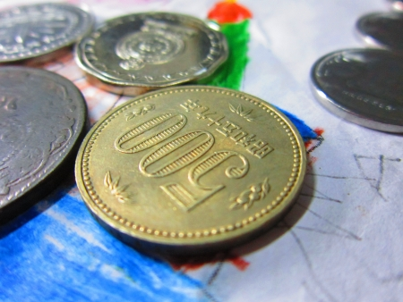 barter system: COINS Stock Photo