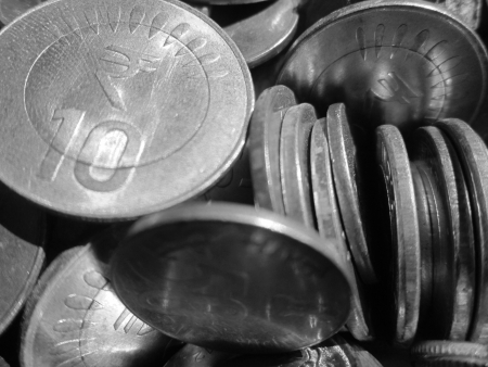 drawback: TEN RUPEE INDIAN COINS SHOT IN BLACK AND WHITE