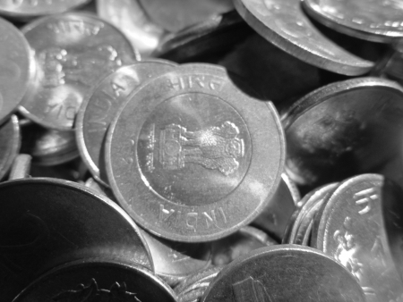 incertaininty: TEN RUPEE INDIAN COINS SHOT IN BLACK AND WHITE