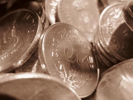 five rupee: INDIA FIVE RUPEE COINS Stock Photo