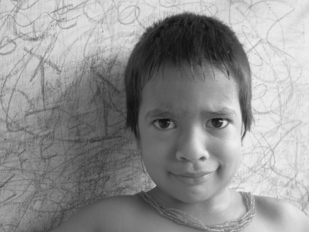 KID FACE SHOT IN BLACK AND WHITE Stock Photo - 15590430