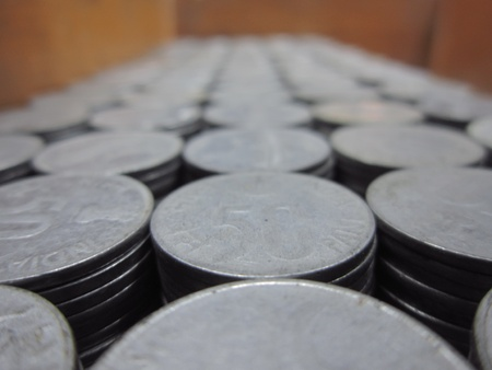 incertaininty: COINS STACK SHOT FROM TOP Stock Photo