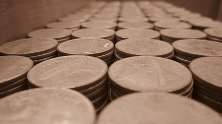 COINS ARRNGED-SEPIA MODE photo