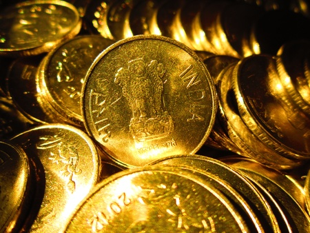 coins shot in golden and vivid color
