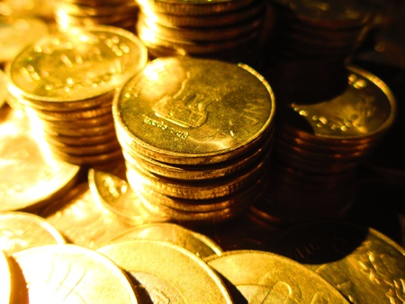 COINS SHOT IN GOLDEN COLOR Stock Photo - 15820590
