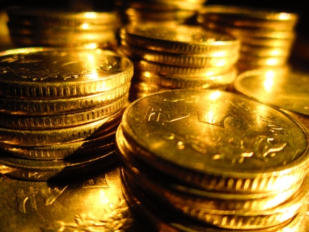 COINS SHOT IN GOLDEN COLOR Stock Photo - 15820592