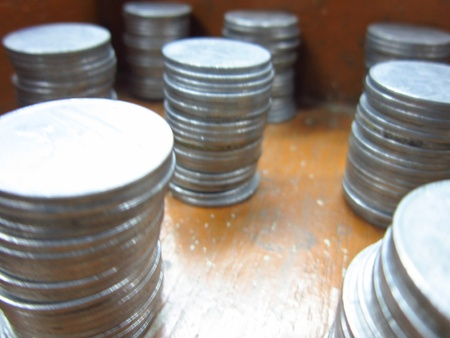 incertaininty: COINS STACKED-STABLE ECONOMY Stock Photo