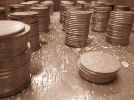 incertaininty: COINS-SHOT IN VIVID MODE Stock Photo
