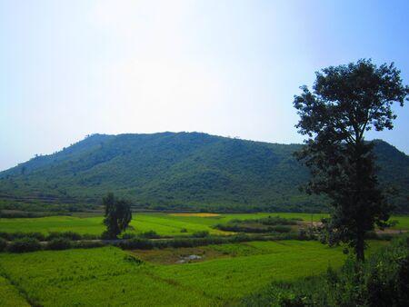 over the hill: El brillo del sol sobre la colina TARDE EN AZUL Foto de archivo