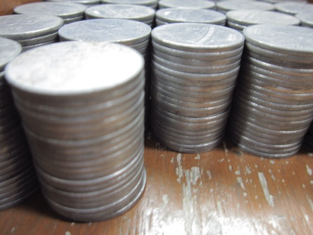 COINS STACKED SHOT FROM SIDE photo