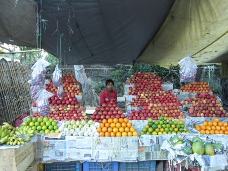 bihar: FRUITSELLER ON THE SIDE OF ROAD. SHOT AT AFTERNOON HOURS ON 31.10.12 AT PATNA, BIHAR, INDIA.