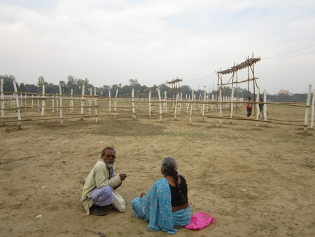 AN OLD COUPLE SITTING AT GANDHI MAIDAN AT THE VENUE FOR ADHIKAR RALLY TO BE HELD ON 04.11.12. SHOT AT AFTERNOON HOURS ON 01.11.12 AT PATNA, BIHAR, INDIA. Stock Photo - 16094035