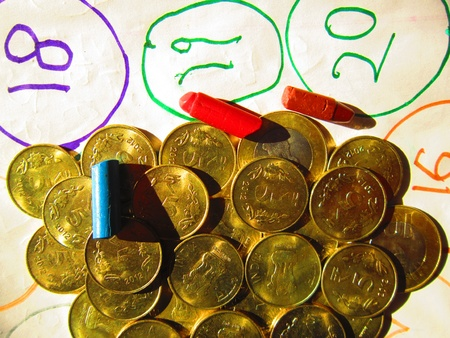 coins and crayon photo