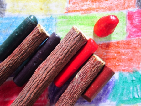 defining: colorful crayons and sticks defining primary education