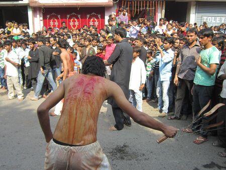 lamentation: Muharram PROCESSIONE Durante il Ramadan a Patna, Bihar. SHOT AT ORE MATTINA SU 25,11.12