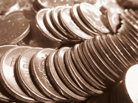 incertaininty: COINS SHOT IN SEPIA