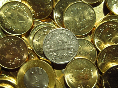 coins shot in golden color: THAILAND COINS BHAT WITH INDIAN COINS SHOT IN GOLDEN COLOR Stock Photo