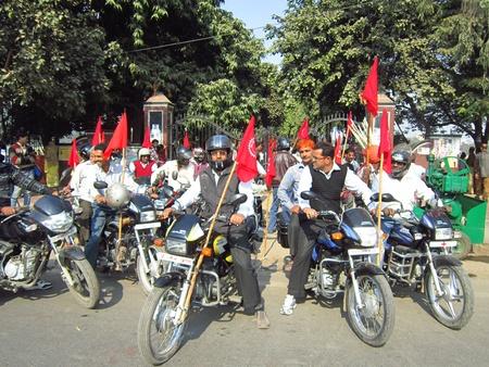 bihar: BIHAR MEDICAL & PUBLIC HEALTH EMPLYEES ASSOCIATION HOLDING RALLY. SHOT AT AFTERNOON HOURS ON 29.11.12 AT PATNA, BIHAR, INDIA.