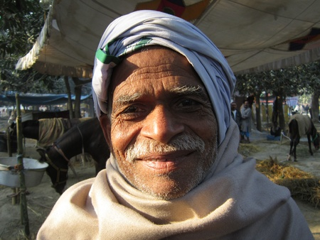 bihar: PORTRAIT OF A BIHARI.SHOT DURING MORNING HOURS ON 02.12.12 AT SONEPUR FAIR, SONEPUR, BIHAR, INDIA. Editorial
