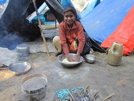 sonepur fair: YOUNG GIRL AT A TENT.SHOT DURING MORNING HOURS ON 02.12.12 AT SONEPUR FAIR, SONEPUR, BIHAR, INDIA.