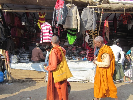 MONKS AT FAIR.SHOT DURING MORNING HOURS ON 02.12.12 AT SONEPUR FAIR, SONEPUR, BIHAR, INDIA.