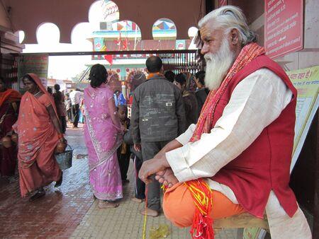 sonepur fair: A SADHU IN FRONT OF A TEMPLE. SHOT DURING MORNING HOURS ON 02.12.12 AT SONEPUR FAIR, SONEPUR, BIHAR, INDIA.