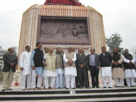 CHIEF MINISTER OF BIHAR, SH NITISH KUMAR AT INAUGURATION OF MAHATMA GANDHI STATUE DURING MORNING ON FEBRUARY 13, 102 IN PATNA, INDIA. Editorial